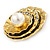 Vintage Inspired Textured, Crystal Shell with Pearl Brooch In Antique Gold Metal - 50mm L - view 3