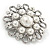 Vintage Inspired Bridal/ Wedding/ Prom Glass Pearl, Clear Crystal Flower Brooch In Silver Tone - 50mm D - view 3