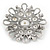 Vintage Inspired Bridal/ Wedding/ Prom Glass Pearl, Clear Crystal Flower Brooch In Silver Tone - 50mm D - view 4