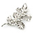 Large Rhodium Plated Crystal Simulated Pearl Floral Brooch - 85mm L