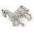 Small Clear Crystal Horse Brooch In Silver Tone Metal - 40mm - view 3