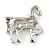 Small Clear Crystal Horse Brooch In Silver Tone Metal - 40mm - view 4