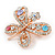 Multicoloured Crystal Butterfly Brooch In Rose Gold Tone - 40mm W - view 6