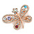 Multicoloured Crystal Butterfly Brooch In Rose Gold Tone - 40mm W - view 3