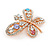 Multicoloured Crystal Butterfly Brooch In Rose Gold Tone - 40mm W - view 4