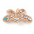Multicoloured Crystal Butterfly Brooch In Rose Gold Tone - 40mm W - view 5