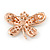 Multicoloured Crystal Butterfly Brooch In Rose Gold Tone - 40mm W - view 2