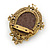 Vintage Inspired Champagne Crystal Cameo Brooch In Antique Gold Metal - 65mm - view 3