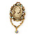 Vintage Inspired Champagne/ AB Crystal Cameo with Charm Brooch/ Pendant In Antique Gold Tone - 75mm L