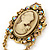 Vintage Inspired Champagne/ AB Crystal Cameo with Charm Brooch/ Pendant In Antique Gold Tone - 75mm L - view 2