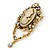 Vintage Inspired Champagne/ AB Crystal Cameo with Charm Brooch/ Pendant In Antique Gold Tone - 75mm L - view 4