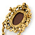 Vintage Inspired Champagne/ AB Crystal Cameo with Charm Brooch/ Pendant In Antique Gold Tone - 75mm L - view 3