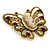 Vintage Inspired Tan Coloured Cameo Butterfly Brooch In Antique Gold Tone - 65mm W - view 5