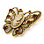 Vintage Inspired Tan Coloured Cameo Butterfly Brooch In Antique Gold Tone - 65mm W - view 6