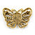 Vintage Inspired Tan Coloured Cameo Butterfly Brooch In Antique Gold Tone - 65mm W - view 4
