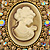 Oversized Crystal Tan Coloured Cameo Brooch/ Pendant In Gold Tone - 85mm L - view 2