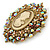 Oversized Crystal Tan Coloured Cameo Brooch/ Pendant In Gold Tone - 85mm L - view 4