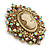 Oversized Crystal Tan Coloured Cameo Brooch/ Pendant In Gold Tone - 85mm L - view 7