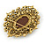 Oversized Crystal Tan Coloured Cameo Brooch/ Pendant In Gold Tone - 85mm L - view 6
