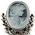 Vintage Inspired Diamante Charm Grey Cameo Brooch/Pendant In Antique Silver Metal - 80mm L - view 2