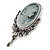 Vintage Inspired Diamante Charm Grey Cameo Brooch/Pendant In Antique Silver Metal - 80mm L - view 4