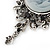 Vintage Inspired Diamante Charm Grey Cameo Brooch/Pendant In Antique Silver Metal - 80mm L - view 5