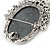 Vintage Inspired Diamante Charm Grey Cameo Brooch/Pendant In Antique Silver Metal - 80mm L - view 3