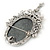 Vintage Inspired Diamante Charm Grey Cameo Brooch/Pendant In Antique Silver Metal - 80mm L - view 6