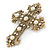 Victorian Style Clear Crystal, Glass Pearl Filigree Large Cross Brooch In Antique Gold Tone - 85mm L - view 2