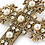 Victorian Style Clear Crystal, Glass Pearl Filigree Large Cross Brooch In Antique Gold Tone - 85mm L - view 3