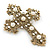 Victorian Style Clear Crystal, Glass Pearl Filigree Large Cross Brooch In Antique Gold Tone - 85mm L - view 5