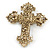 Victorian Style Clear Crystal, Glass Pearl Filigree Large Cross Brooch In Antique Gold Tone - 85mm L - view 4