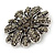 Vintage Inspired Grey Coloured Austrian Crystal Floral Brooch In Antique Silver Tone - 43mm D - view 2