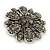 Vintage Inspired Grey Coloured Austrian Crystal Floral Brooch In Antique Silver Tone - 43mm D - view 3