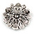 Vintage Inspired Grey Coloured Austrian Crystal Floral Brooch In Antique Silver Tone - 43mm D - view 4