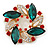 Red/Green/White Crystal Christmas Holly Wreath Brooch In Gold Tone - 40mm