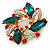 Red/Green/White Crystal Christmas Holly Wreath Brooch In Gold Tone - 40mm - view 2