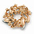 Red/Green/White Crystal Christmas Holly Wreath Brooch In Gold Tone - 40mm - view 3
