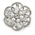 Bridal, Wedding, Prom Crystal, Simulated Pearl Open Flower Brooch In Rhodium Plating - 50mm