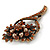 Vintage Inspired Amber Coloured, Simulated Brown Pearl Bead Floral Brooch In Bronze Tone Metal - 55mm - view 3
