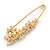 Multicoloured Enamel Flowers, Bee, Simulated Pearls Safety Pin Brooch In Gold Tone - 80mm L - view 3