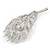Exotic Clear Crystal 'Peacock Feather' Brooch In Rhodium Plating - 8cm L - view 3