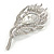 Exotic Clear Crystal 'Peacock Feather' Brooch In Rhodium Plating - 8cm L