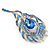 Exotic Blue Crystal 'Peacock Feather' Brooch/ Hair Clip In Rhodium Plating - 8cm L - view 4
