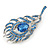 Exotic Blue Crystal 'Peacock Feather' Brooch/ Hair Clip In Rhodium Plating - 8cm L - view 5