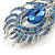 Exotic Blue Crystal 'Peacock Feather' Brooch/ Hair Clip In Rhodium Plating - 8cm L - view 2