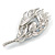 Exotic Blue Crystal 'Peacock Feather' Brooch/ Hair Clip In Rhodium Plating - 8cm L - view 3