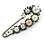 Large Vintage Inspired Glass Pearl, Crystal Safety Pin Brooch In Gun Metal Finish - 90mm