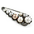 Large Vintage Inspired Glass Pearl, Crystal Safety Pin Brooch In Gun Metal Finish - 90mm - view 5