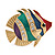 Funky Multicoloured Enamel Crystal Fish Brooch In Gold Tone Metal - 50mm L - view 1